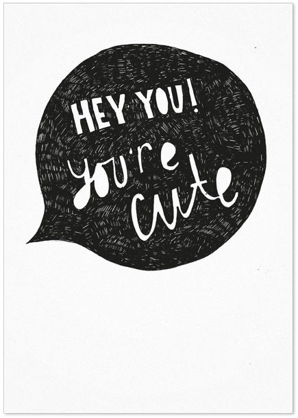 Studio Rainbow Prints - Kaart Hey you! You're cute