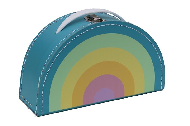 Kids Boetiek kartonnen koffertje Regenboog (pastel)