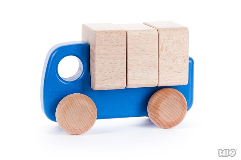 Bajo Houten Vrachtwagen met Blokken (blauw)