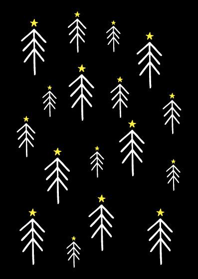 Funny Side Up - Poster Kerstbomen (A4)