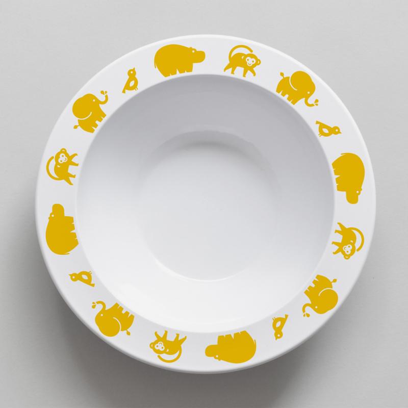 Buddy and Bear melamine kom Wilde Dieren (geel)