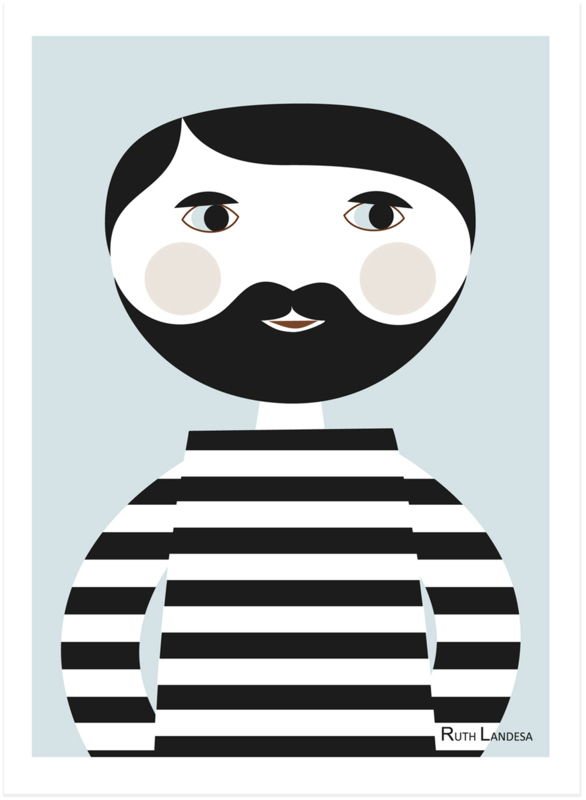 Nämä - Print Bearded Man (A4)