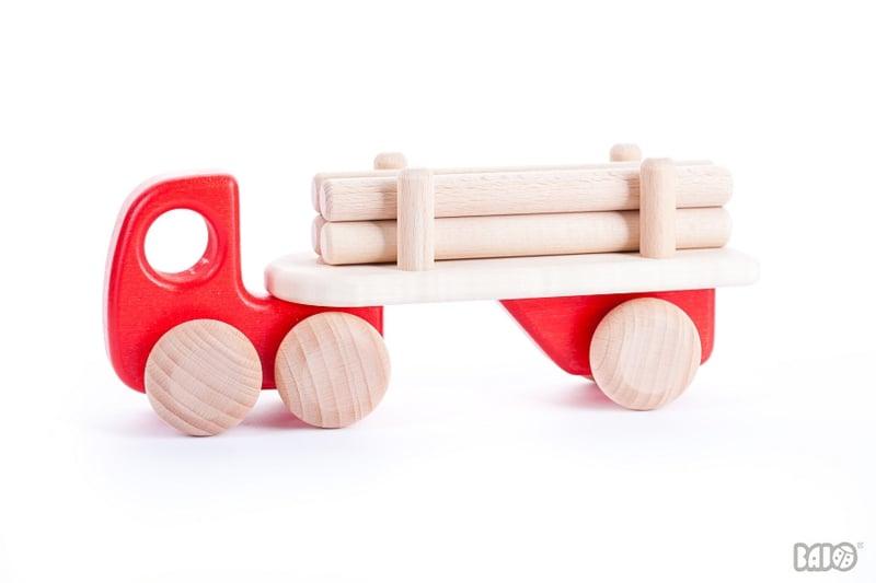 Bajo Houten Vrachtwagen met Boomstammen (rood)