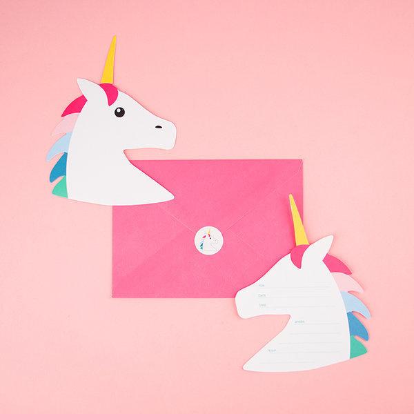 My Little Day uitnodigingen Unicorn / Eenhoorn (8 stuks)