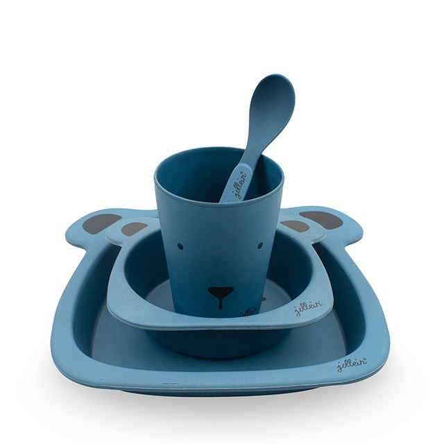 Jollein | Dinnerset Bamboe Animal Club Blauw