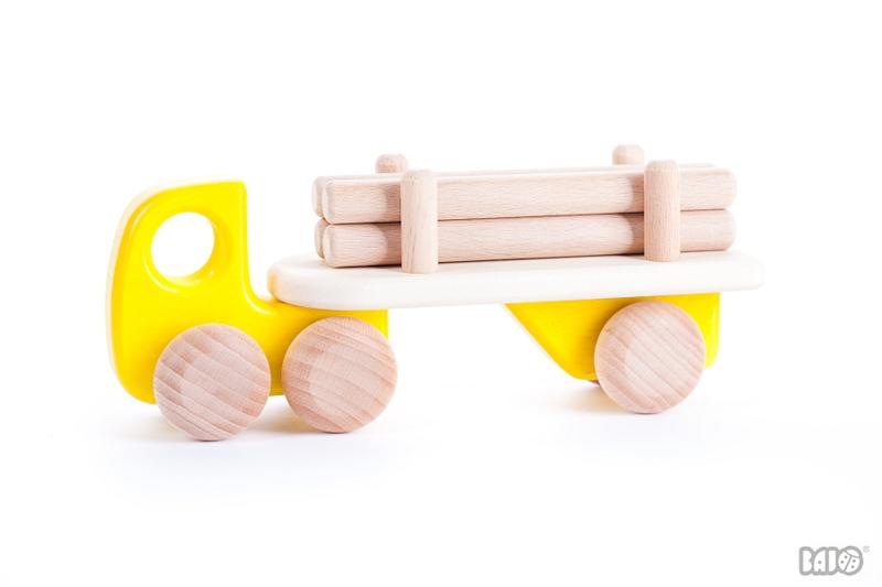 Bajo Houten Vrachtwagen met Boomstammen (geel)