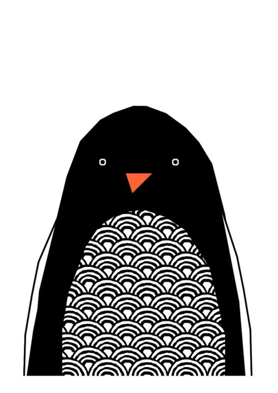 Ingrid Petrie Design - Hello Penquin print (A4)