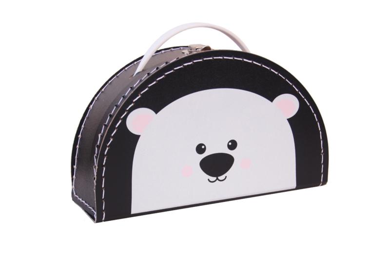 Kids Boetiek kartonnen koffertje IJsbeer (zwart)