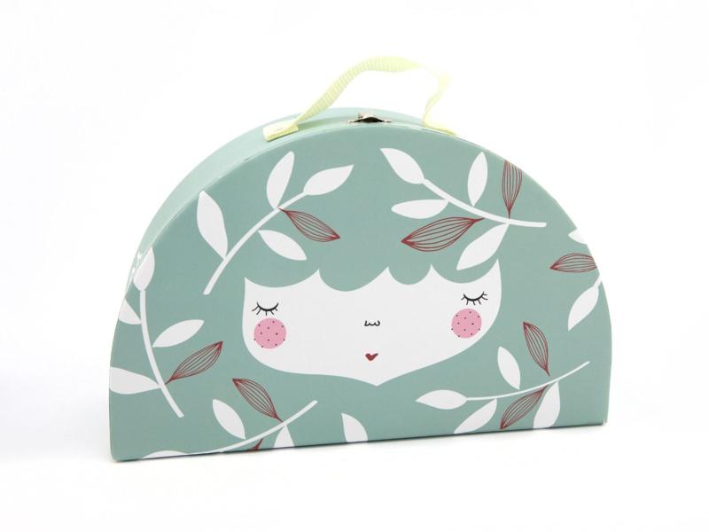 Yuunaa | Kartonnen Kinderkoffertje Flower Face Mintgroen - Groot