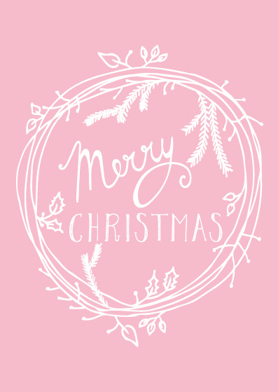 Funny Side Up - Kerstkaart Merry Christmas (pink)