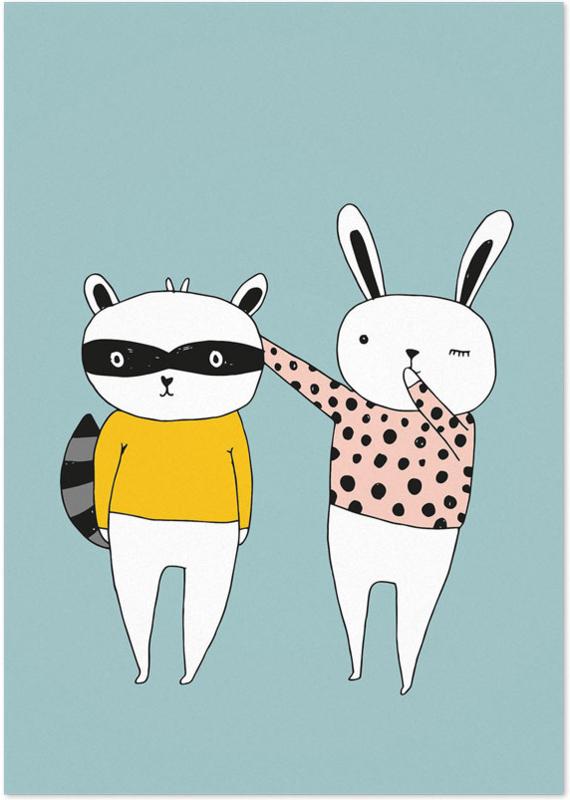 Studio Rainbow Prints - A4 Poster Konijn en Wasbeer (blauw)