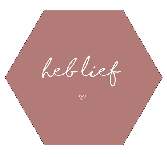 Label-R Kids | Hexagon Tekst Heb lief (roze)
