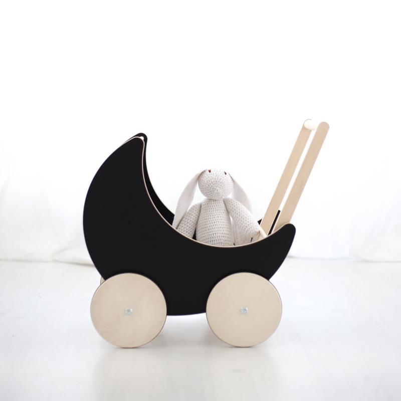 ooh noo poppenwagen hout (zwart krijtbord)