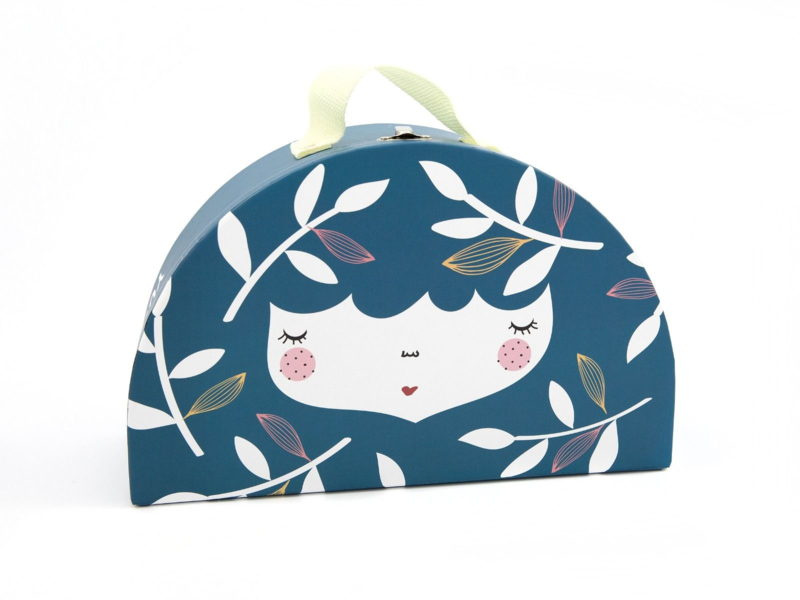 Yuuna | Kartonnen Kinderkoffertje Flower Face Blauw - Groot