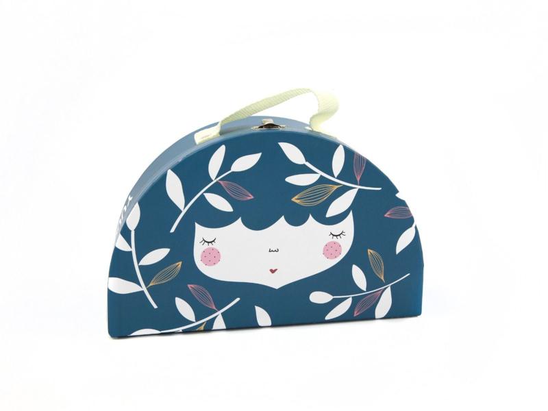 Yuunaa | Kartonnen Koffertje Flower Face Blauw - Klein