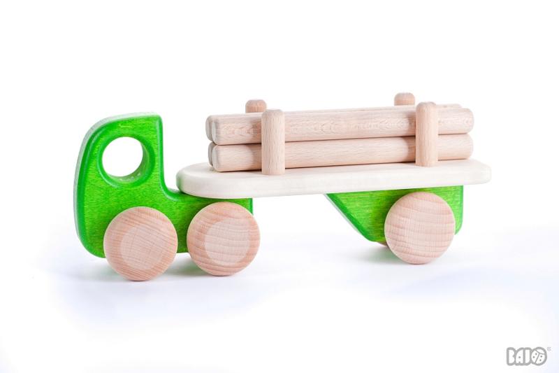 Bajo Houten Vrachtwagen met Boomstammen (groen)