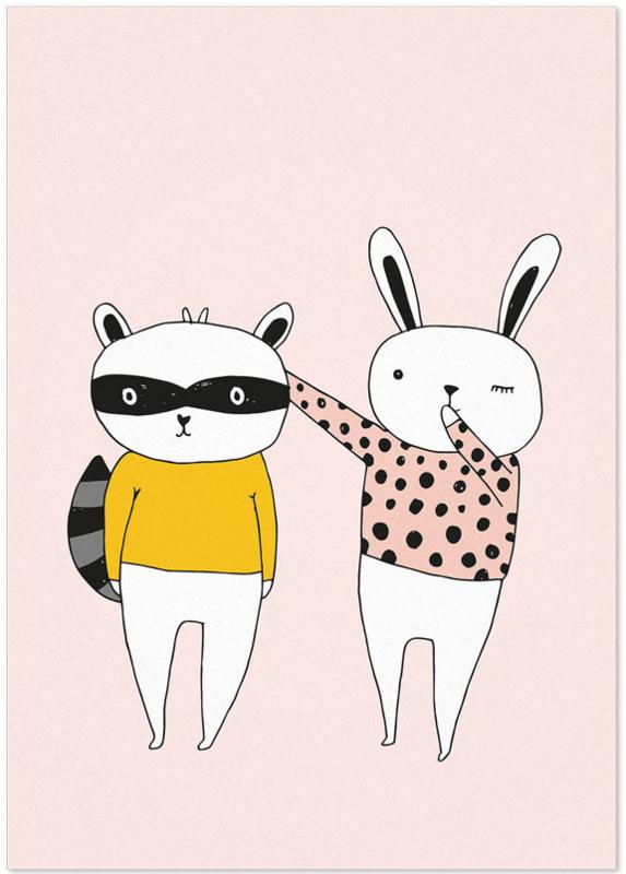 Studio Rainbow Prints - A4 Poster Konijn en Wasbeer (roze)