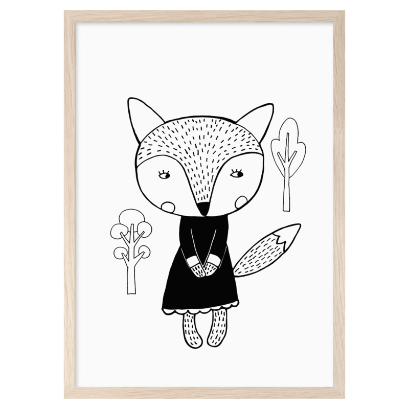 Mini Learners – Poster Fox in a dress (A3)