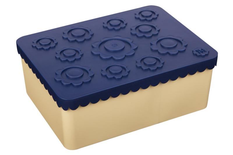 Blafre   Lunchtrommel Bloemetjes (beige/blauw)