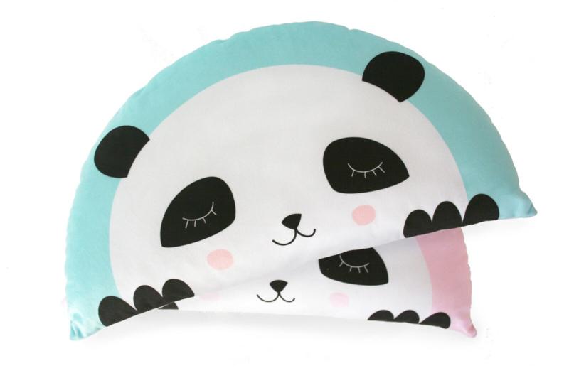 Kids Boetiek kussen Panda (mint/blauw)