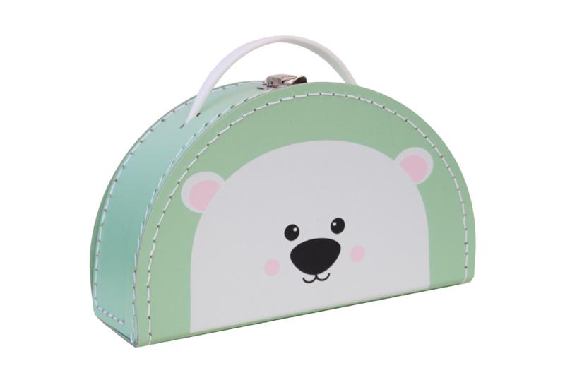 Kids Boetiek kartonnen koffertje IJsbeer (mintgroen)