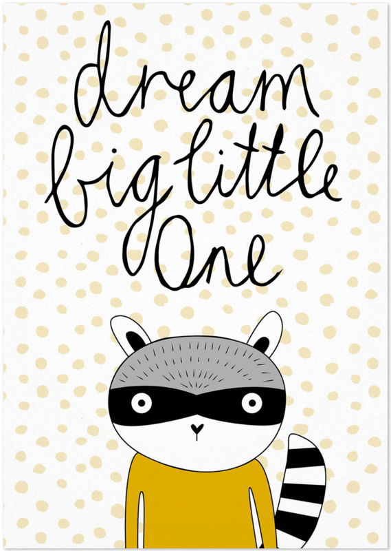 Studio Rainbow Prints - A4 Poster Dream Big Wasbeer (oker)