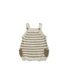 Knitted romper latte ecru stripes
