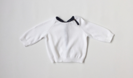 Jumper with Botton - up neck white / blue