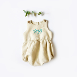 Green embroidery romper