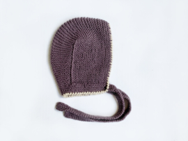 Knitted aubergine bonnet