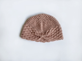 Knitted pink turban