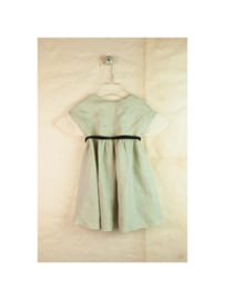 Green reversible dress with Japanese sleeve