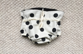 Reversible culotte in black and polka dot