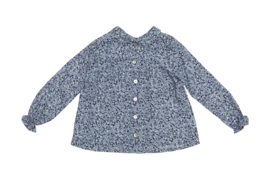 Alice blouse - shirt / grey flowers