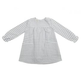 CAMILLE vestido - Cuadritos gris perla