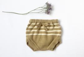 Knitted bloomer latte ecru stripes