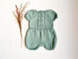 Hand knitted green romper