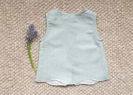 Louisa top - Green linen stripes