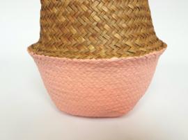 Wicker basket - Salmon pink - ø 25 cm