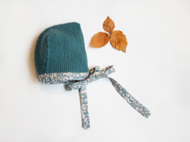Handcrafted - blue/green Knitted Bonnet