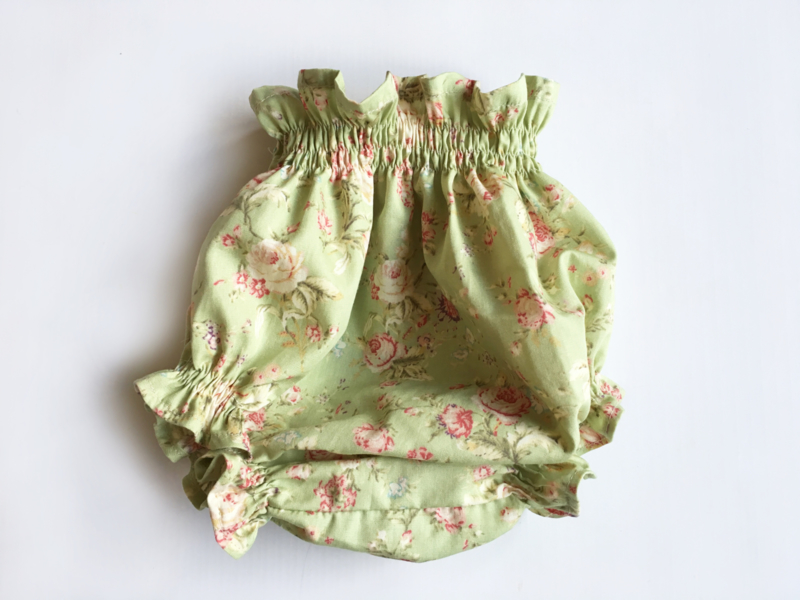 Green floral culotte - Handmade