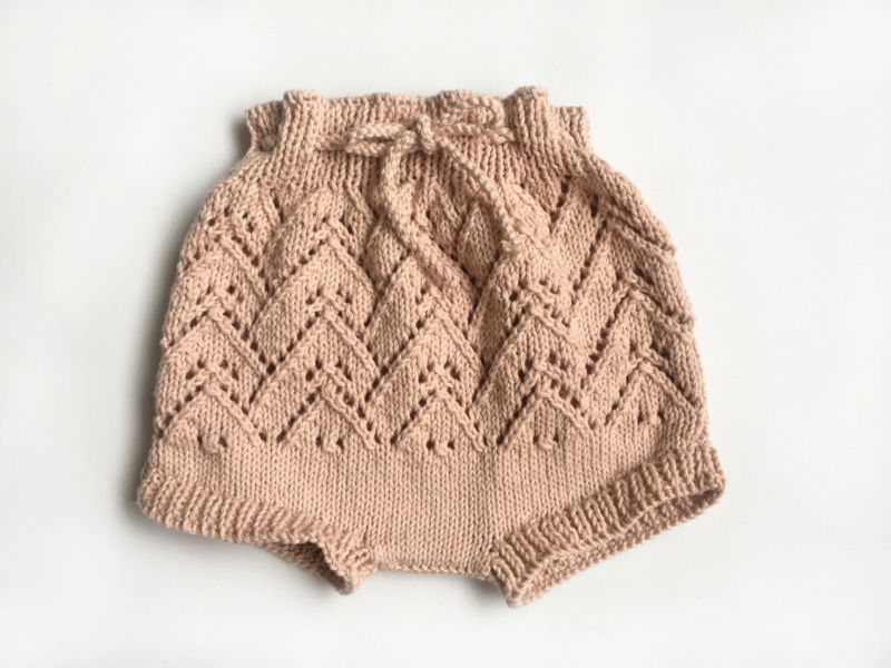 Old pink knitted culottes - Handmade