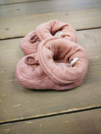 Melton Slofjes roze jaquard