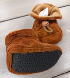 Melton Slofjes leather brown velvet