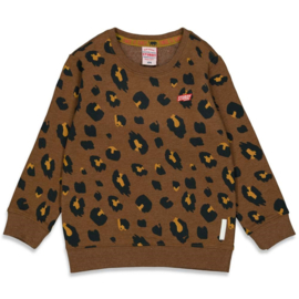 Sturdy sweater aop bruin On a Roll
