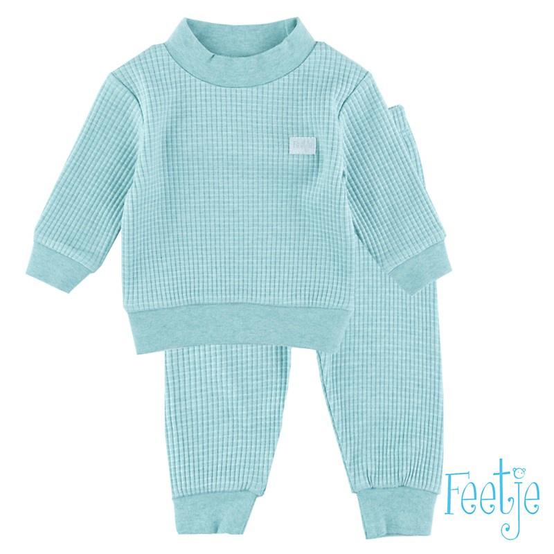 Feetje Wafel pyjama groen Melange