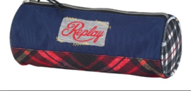 Replay girls etui blauw/rood flannel rond (2903)