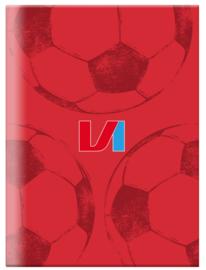 Voetbal international schrift A4 geruit rood (9999)