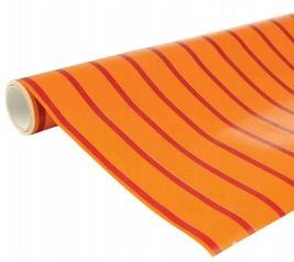 Kaftpapier dik 5mtr rood/oranje gestreept (4034)