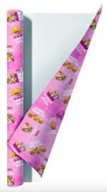 Emoji girls kaftpapier roze (7844)